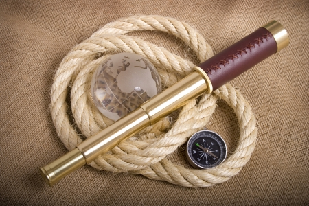 Composition with nautical objects and a golden telescope Stock Photo - 17035372