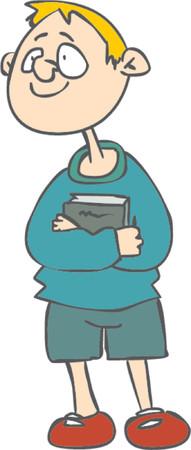 Boy holding a book Vector