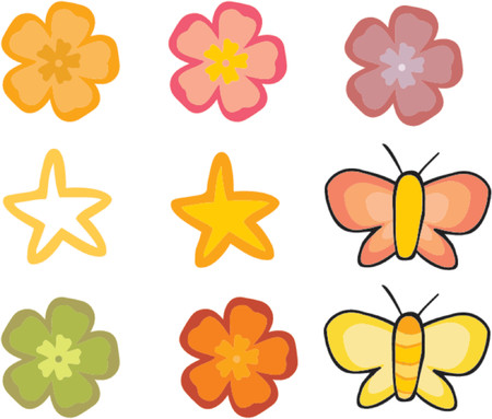 seasonable: Floral set - flowers and batterflies over white background.