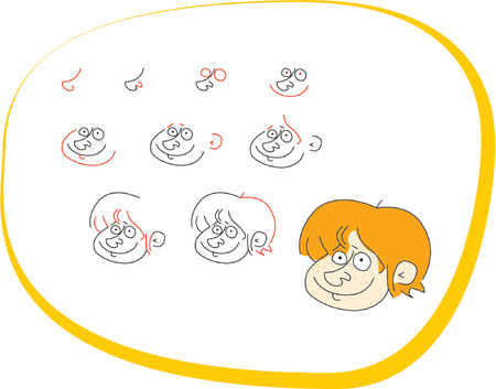 How to draw a blond boy Vector