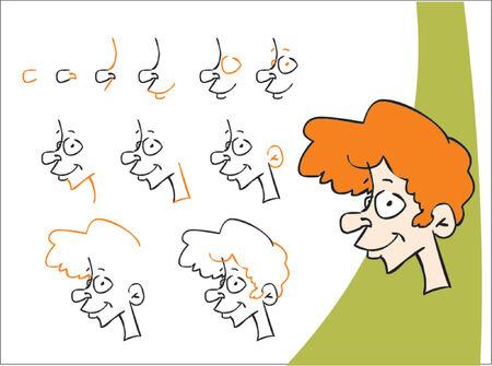 redhead: How to draw a redhead boy