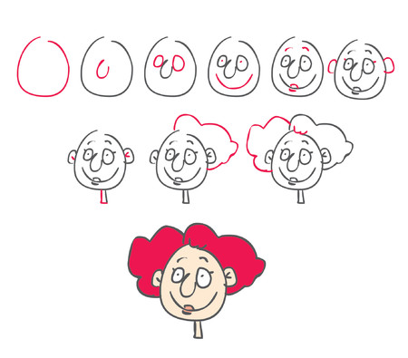 How to draw a weird woman face Vector