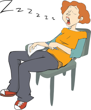 woman sleep: Sleepy student, snoring on a chair while doing an exam Illustration