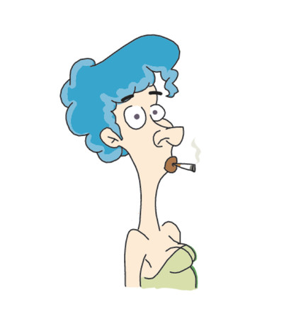 cigar smoke: Blue hair lady smoking with a surprized expretion Illustration