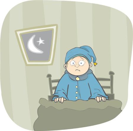 lurk: Boy svegliato da un terribile incubo nel suo letto Vettoriali