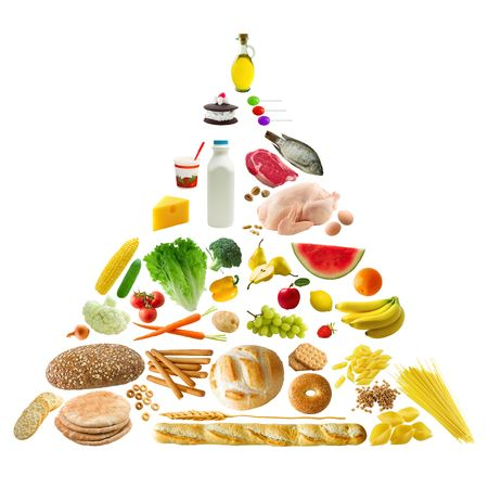 low calorie: Food Pyramid Stock Photo