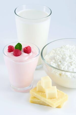Dairy products: milk, yogurt, cheese, cottage cheese
