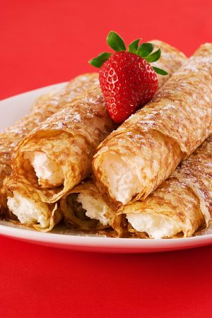Crepes filled with cream cheese