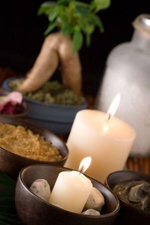 Spa accessories: body scrub, black mud, bath salt, scented stones Stock Photo