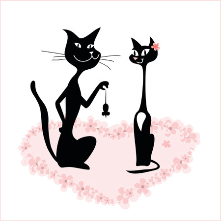 Cartoon of a cat couple on romantic date Stock Vector - 782672