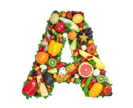 fruits and vegetables: Alphabet of Health - A Stock Photo