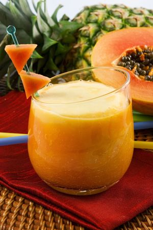Pineapple papaya smoothie Stock Photo