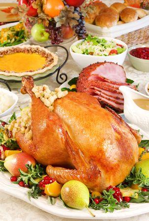 ham: Thanksgiving kalkoen eten Stockfoto