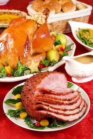 roast turkey: Honey glazed ham