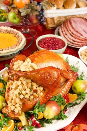 christmas turkey: Turkey dinner Stock Photo