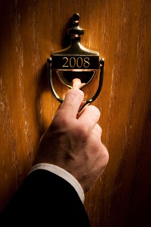Door leading to a new year 2008 Stock Photo