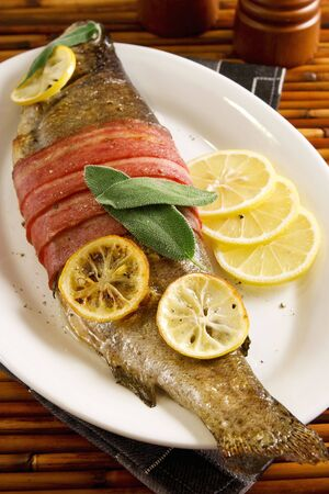 Bacon wrapped trout photo
