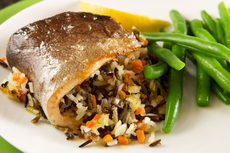 Roasted trout with rice photo