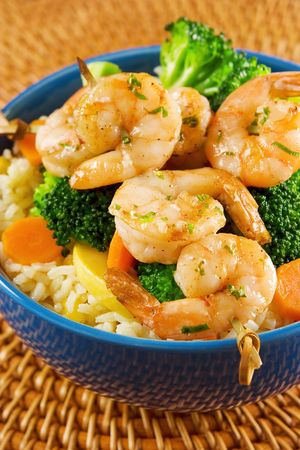 Grilled shrimps with rice and vegetables Stock Photo