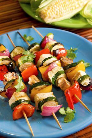 Tofu vegetable skewers Stock fotó
