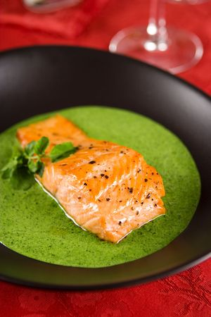 Salmon with watercress spinach sauce  photo