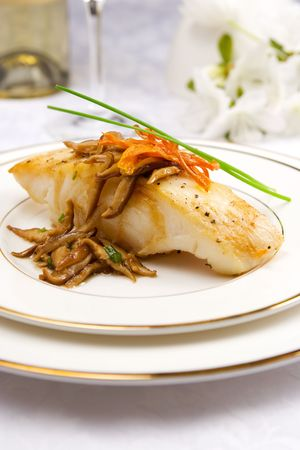 Sea bass with shiitake mushrooms