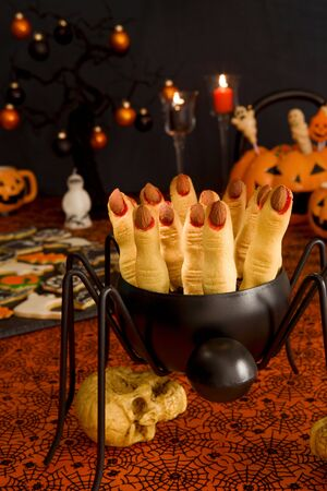 Witchs fingers halloween cookies Banco de Imagens