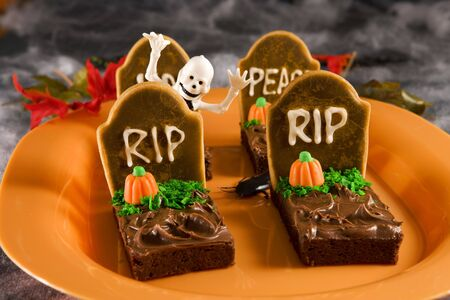 Halloween tombstone brownies Stock Photo
