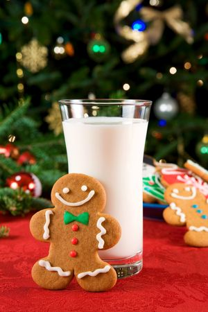milk and cookies: Gingerbread man and milk Stock Photo