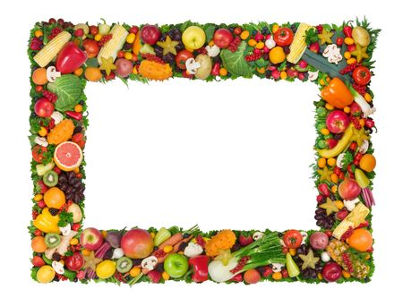 Fruit and vegetable frame Stock Photo