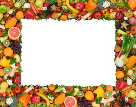abstract fruit: Fruit and vegetable frame Stock Photo