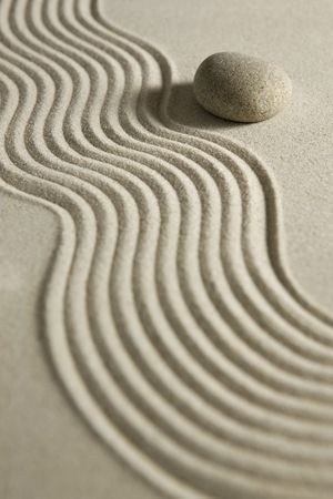 raked: Stone on raked sand