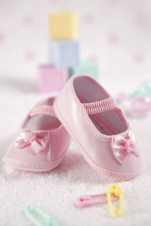 baby blocks: Pink baby shoes