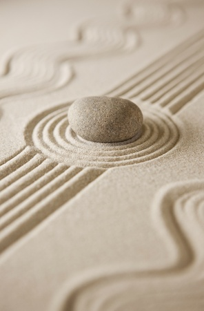 Close-up of a miniature zen garden