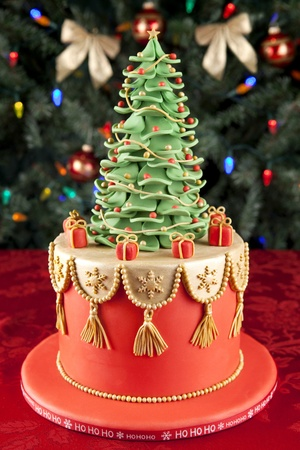 Christmas fondant cake Stock Photo