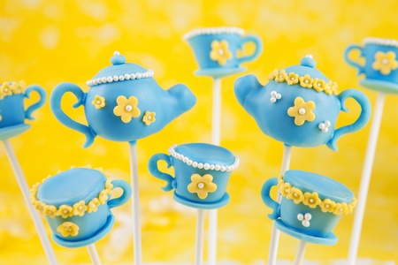 Teapot and teacup cake pops photo
