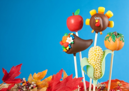 horn of plenty: Thanksgiving cake pops Stock Photo