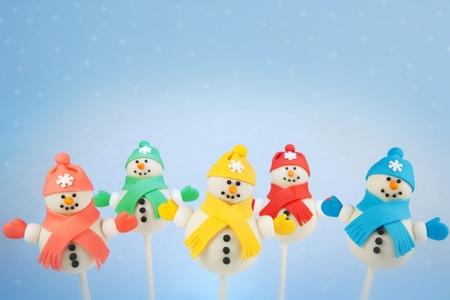 Snowman cake pops Banque d'images