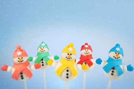 cake pops: Snowman cake pops Stock Photo