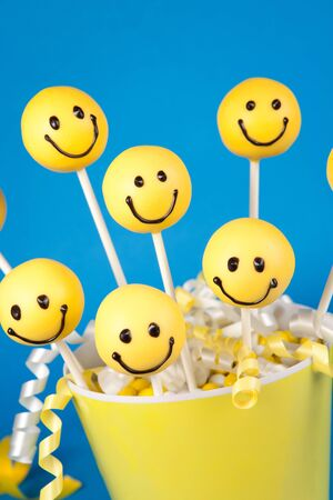 cake pops: Smiley face cake pops Stock Photo