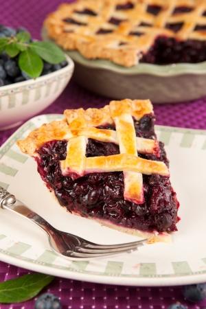 blueberry pie: Una rebanada de pastel de ar�ndanos