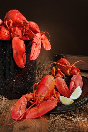lobster pots: Still life with lobsters