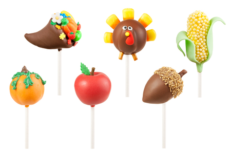 cake pops: Thanksgiving cake pops Stock Photo