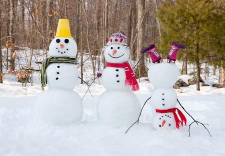 Snowman family Foto de archivo