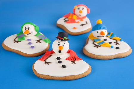 Melted snowman cookies Standard-Bild