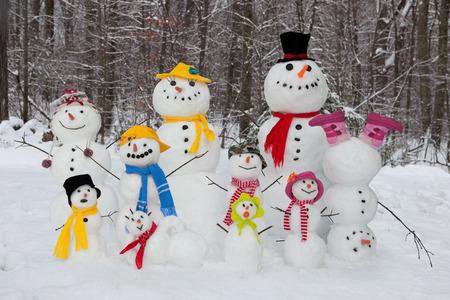 Snowman family Banque d'images