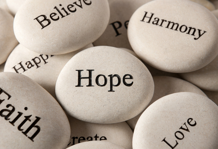 hope sign: Inspirational stones - Hope