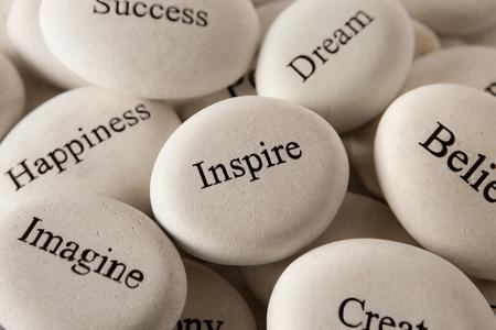 Inspirational stenen - Inspire Stockfoto