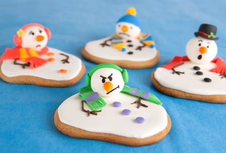 hysteria: Melted snowman cookies Stock Photo