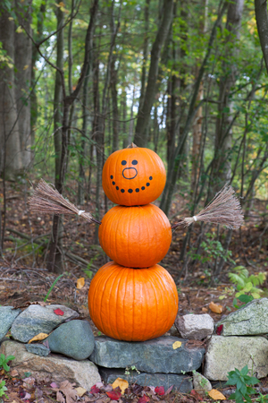 Pumpkin man in the woods Stock Photo